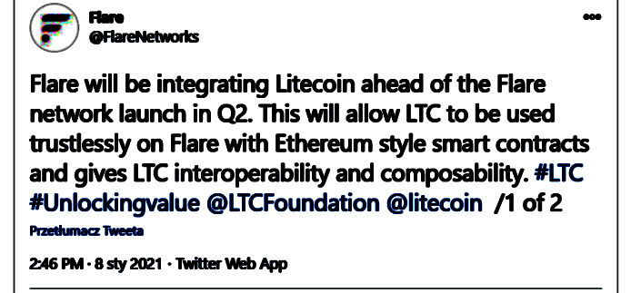 "Flare na Twitterze_ ""Flare will be integrating Litecoin ahead of the Flare netwo"